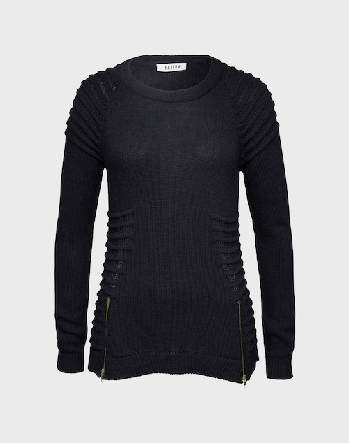 EDITED the label Langer Strickpullover ´Panda´ Damen schwarz