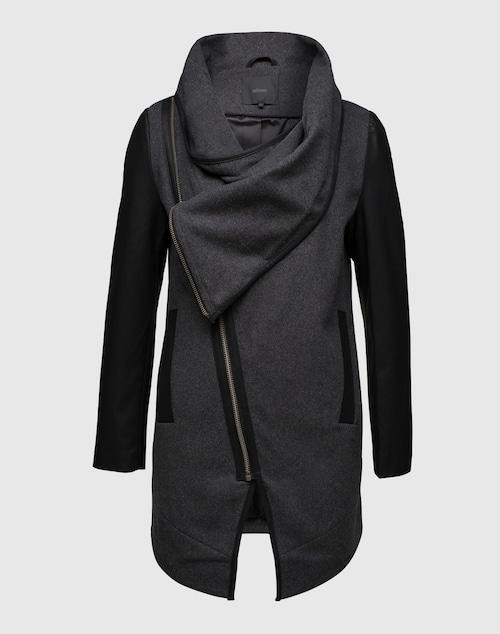 minimum Mantel mit Besätzen in Lederoptik ´Atalie´ Damen schwarz/grau