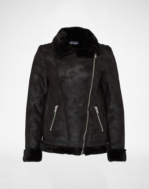 Jacke im Flieger-Stil aus Textil mit Plüschkragen und Futter. Metallzipper vorne und an den Eingrifftaschen akzentuieren den Look.