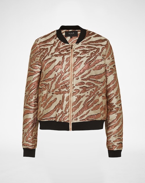 Jacke im Bomber-Stil mit Rippenbündchen und metallenem Frontzipper von Vila. Das gestickte Animal-Muster in Glitzeroptik prägt das coole Design der Jacke.