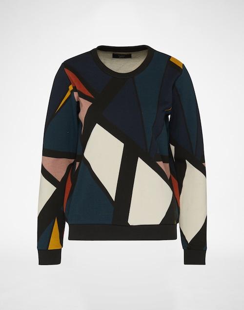 Der Pullover von Nümph springt dank individuell grafischem Design direkt ins Auge. Der regular Cut wird durch einen Sweatshirtstoff supportet. Ein runder Ausschnitt und Ärmelenden sowie Saum aus Rippoptik vollenden den Look.
