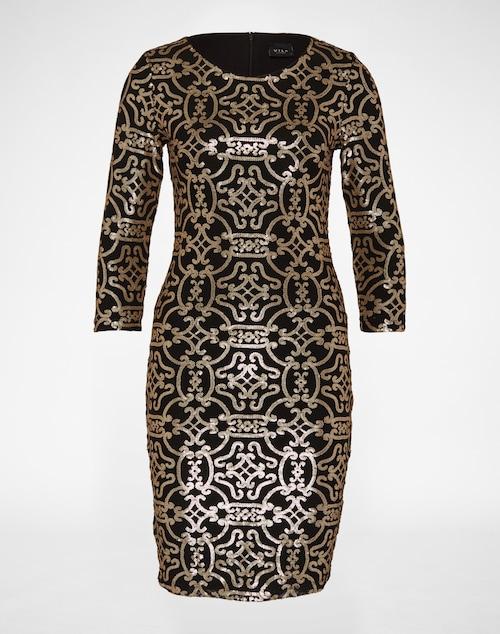 Kurzes, tailliertes Cocktailkleid mit Dreiviertelarm von Vila. Der allover Paillettenbesatz prägt das Design des figurbetonten Kleides. Mit Metallzipper an der Rückenmitte zum Schließen.