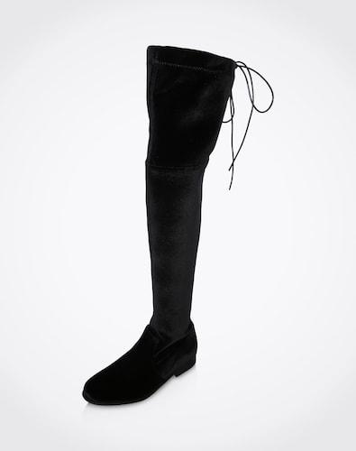 Stiefel für Frauen - EDITED the label Overknees aus Samt 'Florence' Damen schwarz  - Onlineshop Edited