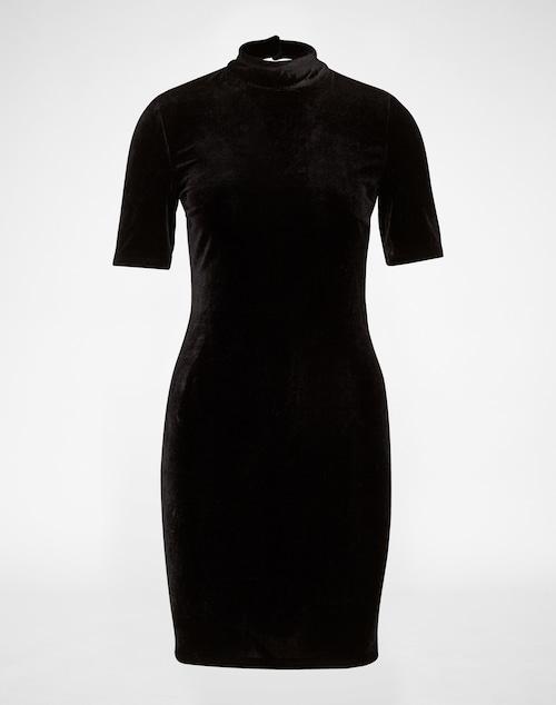 Das Kleid aus Samt von Vila kommt mit kleinem Stehkragen und auffälligem Keyhole-Verschluss auf der Rückseite. Das elastische Material sorgt für ein angenehmes Tragegefühl und passt sich dem Körper ideal an.