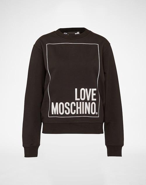 Trendiges Sweatshirt von Love Moschino im monochromen Design mit Schriftzug auf der Vorderseite. Die elastischen Bündchen an allen Kanten runden den sportiven Look des Sweaters ab. Perfekt lässig in Kombination mit destroyed Jeans und