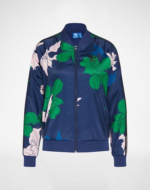 Sweatjacke von Adidas Originals. Das florale Allover-Muster macht aus jedem Artikel ein extravagantes Original. Die softe Satin-Optik sorgt für einen luxuriösen Tragekomfort. Tipp: mit Leggings und Sneaker das optimale Sportoutfit.